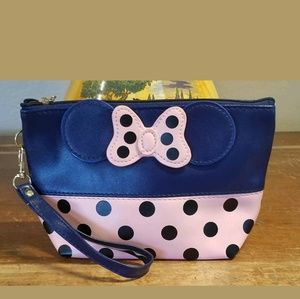 Minnie Mouse Bow Cosmetic Bag Pink and Navy